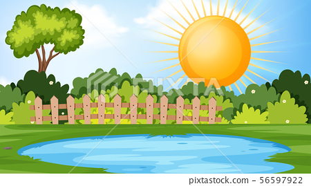 Outdoor park scene with pond 56597922