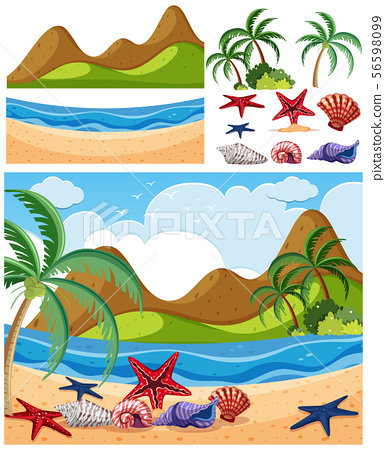 Nature landscape of seaside with starfish on beach 56598099