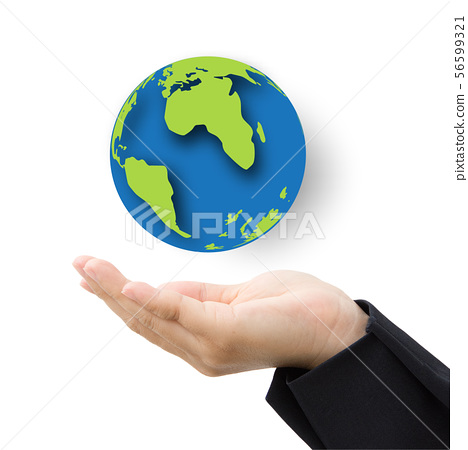 business hand with paper globe 56599321