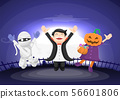 Kids dressed in halloween costume jumping and 56601806