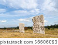 Two standing stones in a gravefield at Karum on 56606093