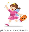 Little girl in Angel costume with pumpkin basket 56608495
