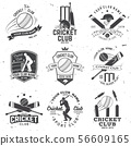 Set of cricket club badges. Vector. Concept for shirt, print, stamp or tee. Templates for sports 56609165