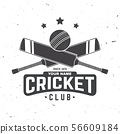 Cricket club badge. Vector. Concept for shirt, print, stamp or tee. Vintage typography design with 56609184