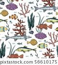Sea seamless vector pattern. 56610175