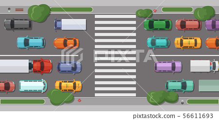 Vector road with cars in front of pedestrian zone 56611693