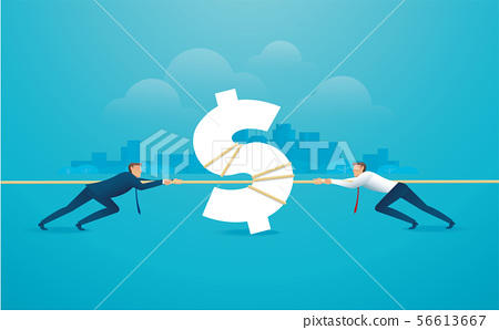 businessmen pull the rope with money icon 56613667