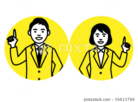 男女西装,上身,圆框 56613799