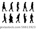 Silhouette people walking collection on white 56613923