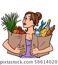 woman and food bags 56614020