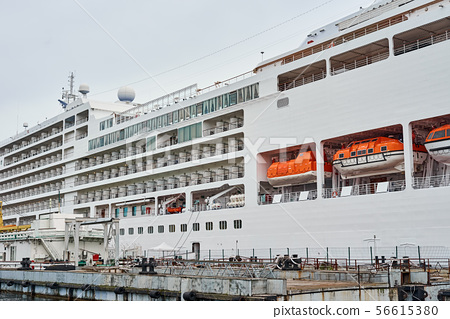 Close up of cruise ship liner docked in the port 56615380
