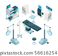 Isometric illustrations of medical equipment in operating room. Hospital pictures set 56616254