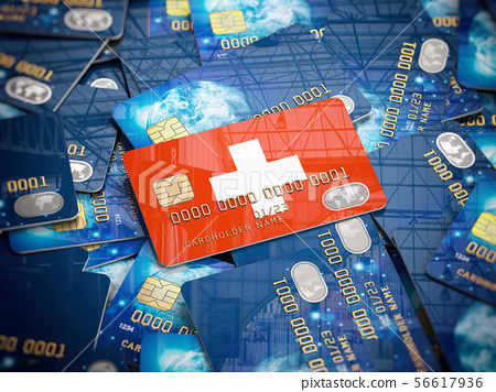 Credit Card Of Swiss Bank On The Heap