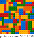 Seamless template of realistic colored plastic bricks. Construction blocks. It is easy to recolour 56618859