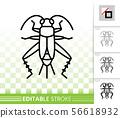Cricket Bug simple black line vector icon 56618932