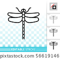 Dragonfly top view simple black line vector icon 56619146