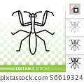Mantis bug insect simple black line vector icon 56619324