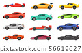 Different sport cars isolated on white. Vector illustrations of racers on road 56619627