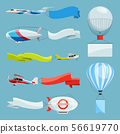 Zeppelins and airplanes with empty banners for advertising messages. Vector illustrations with place 56619770