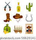 Cartoon icon set for wild west theme. Vector illustrations isolated 56620141