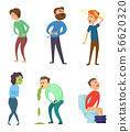 Stomachache poison and diarrhea. Healthcare illustrations. Vector characters set 56620320