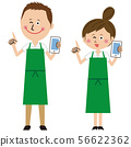 A man and a woman in a pop green apron hold a mobile phone and point 56622362