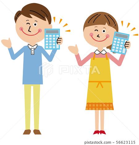 流行夫婦男人和女人計算器 56623115