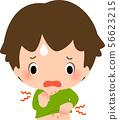 복부에 습진 수 어려움을 겪고있는 소년 56623215
