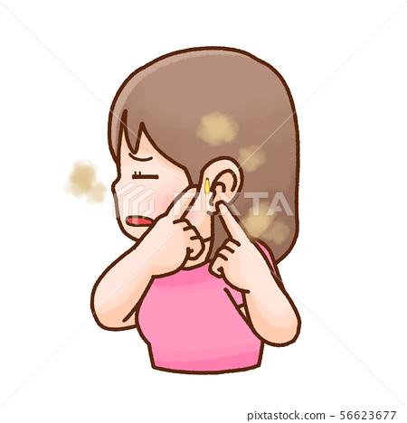 有耳瘺的婦女 56623677