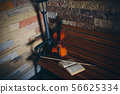 violin, bow and open book on a bench by the stone wall 56625334