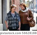 Happy smiling mature women walking in city 56628188