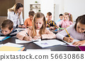 classroom, children, teacher 56630868