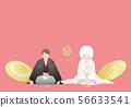 정좌 인사를하는 부부 - 화장 결혼식 이미지 (문부 겉옷 · 白無垢) 56633541
