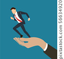 hand holding running businessman  56634920