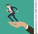 hand holding running businessman  56634921