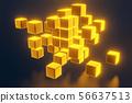 3D gold block cubes on dark background. 3D rendering 56637513