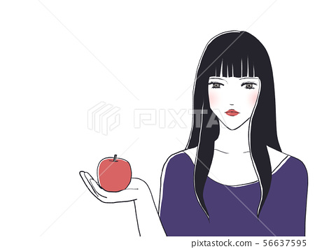 A woman with an apple 56637595