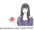Woman with apple watercolor material 56637597