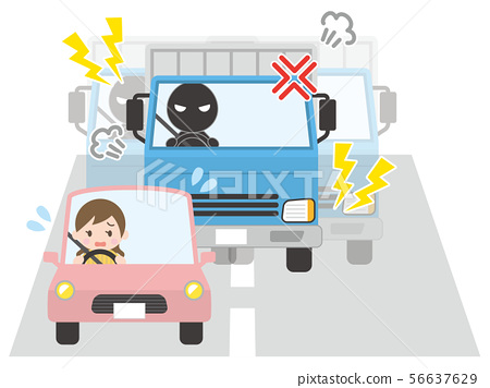 A woman in a passenger car driven by a truck 56637629