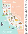 An Illustrated map of California with destinations 56637805