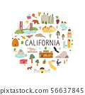 Abstract print design with symbols of California 56637845