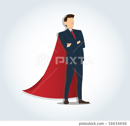 businessman standing with red cape 56638698