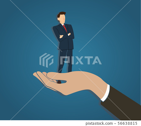 businessman standing with crossed arms in big hand 56638815