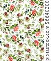 Seamless watercolor Christmas pattern with berries 56640200