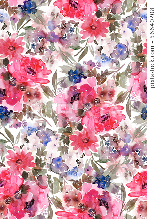Seamless summer pattern with watercolor flowers 56640208