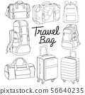 Travel bag backpack doodle style vector 56640235