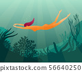 Girl diver on coral reef 56640250