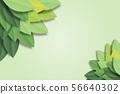 Green leaves frame on green background. Vector 56640302