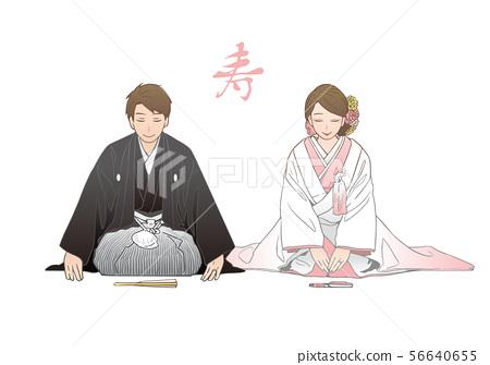 一對夫婦在直線位置彎曲 - 日本婚禮圖像 56640655