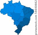 Blue outline Brazil map on white background. 56640662